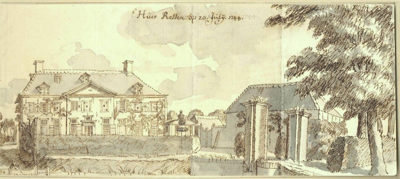 Huis Ressen in Ressen Bemmel. Tekening Jan de Beijer, 1744
